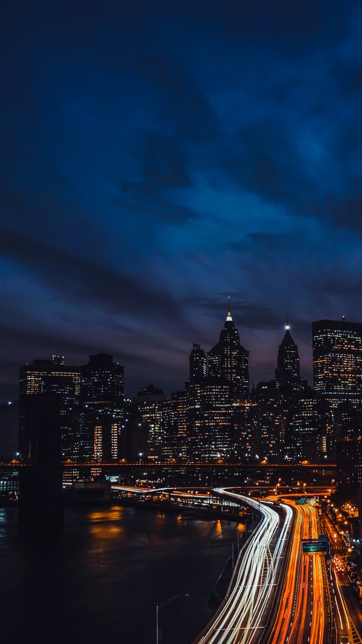 Night City Skyscrapers Night Bridge Wallpaper 720x1280