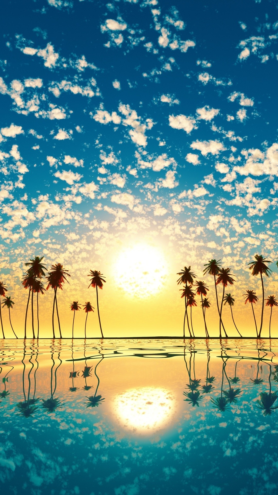 Palm Trees Reflection Sunset Cd Wallpaper 1080x1920