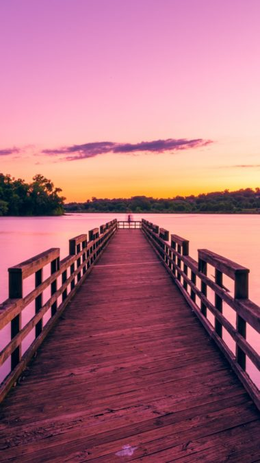 Pier Lake Sunset Sky Wallpaper 720x1280 380x676