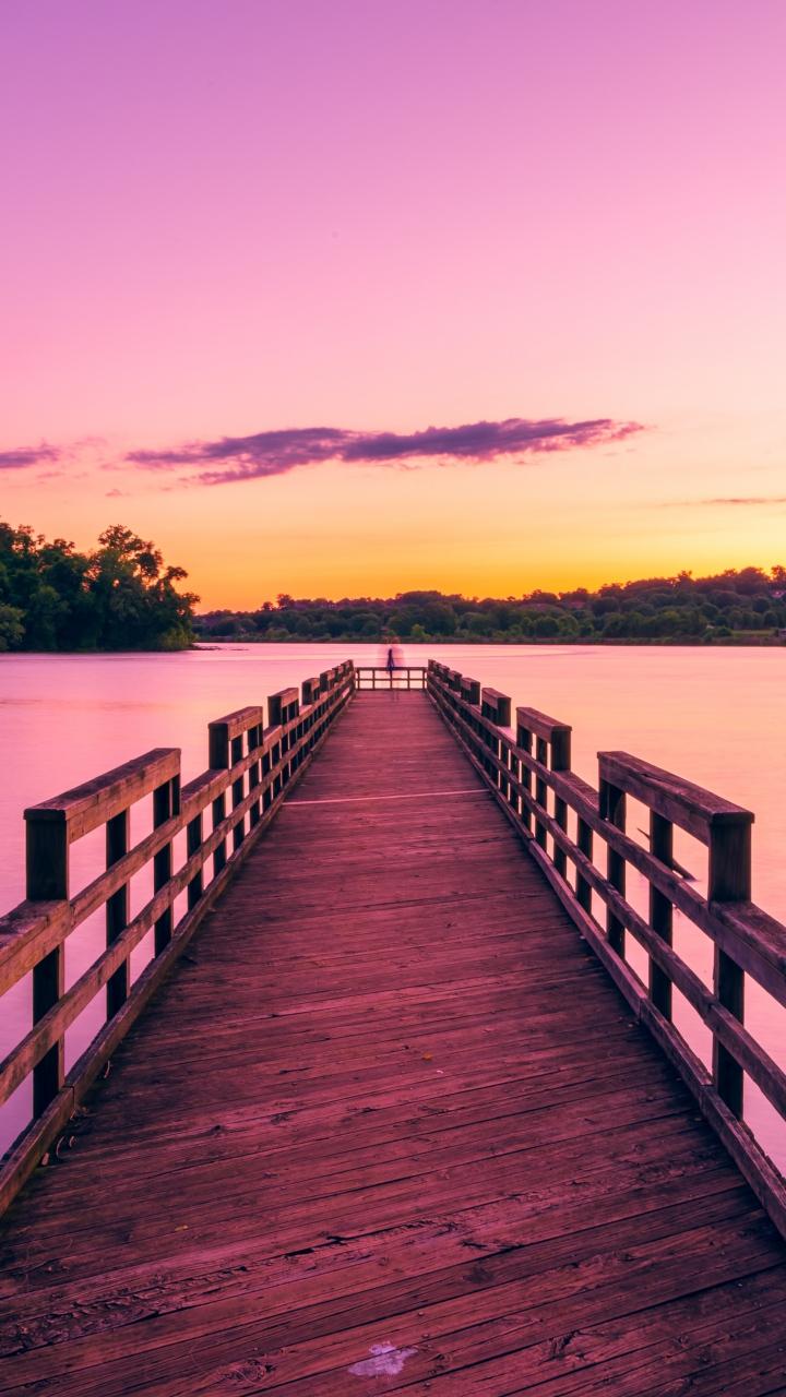 Pier Lake Sunset Sky Wallpaper 720x1280
