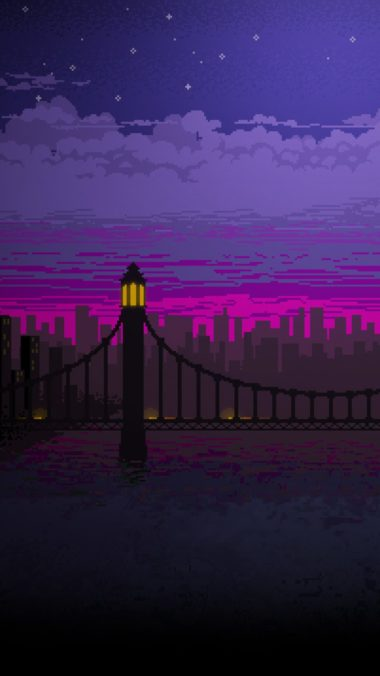 Pixel Art Bridge Night Cc Wallpaper 1080x1920 380x676