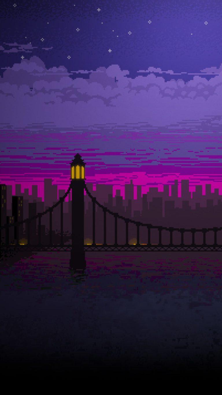 Pixel Art Bridge Night Cc Wallpaper 1080x1920