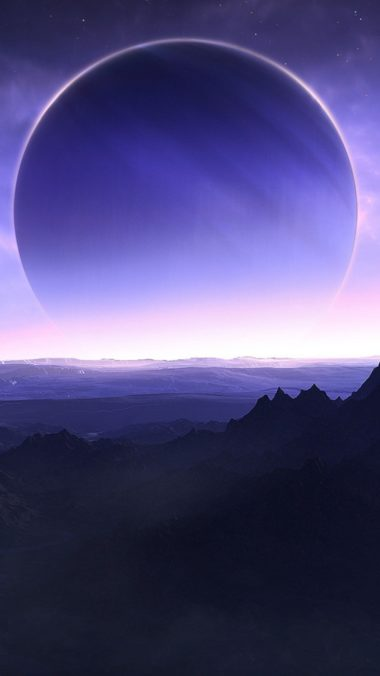 Planets Mountains Sea Sky Artwork Wh Wallpaper 2160x3840 380x676