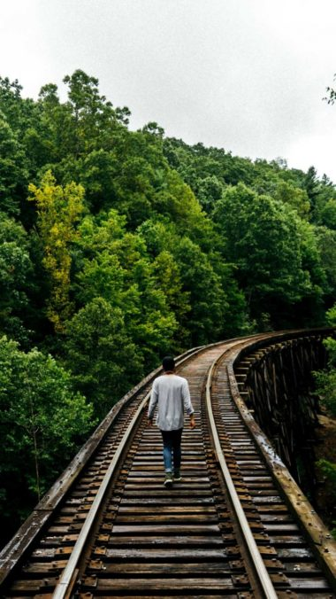 Railway Man Walk Trees Wallpaper 720x1280 380x676