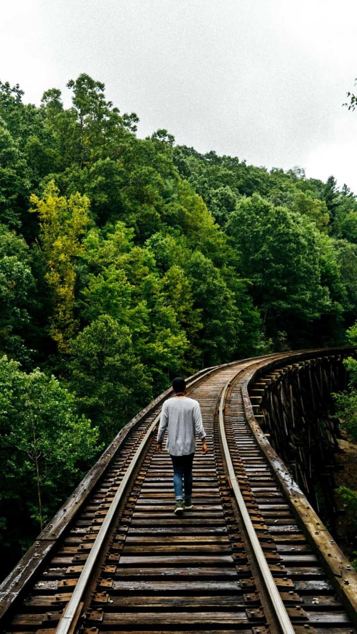 Railway Man Walk Trees Wallpaper 720x1280