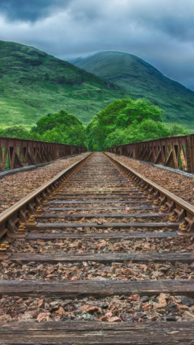 Railway Rails Mountains Hdr Wallpaper 2160x3840 380x676