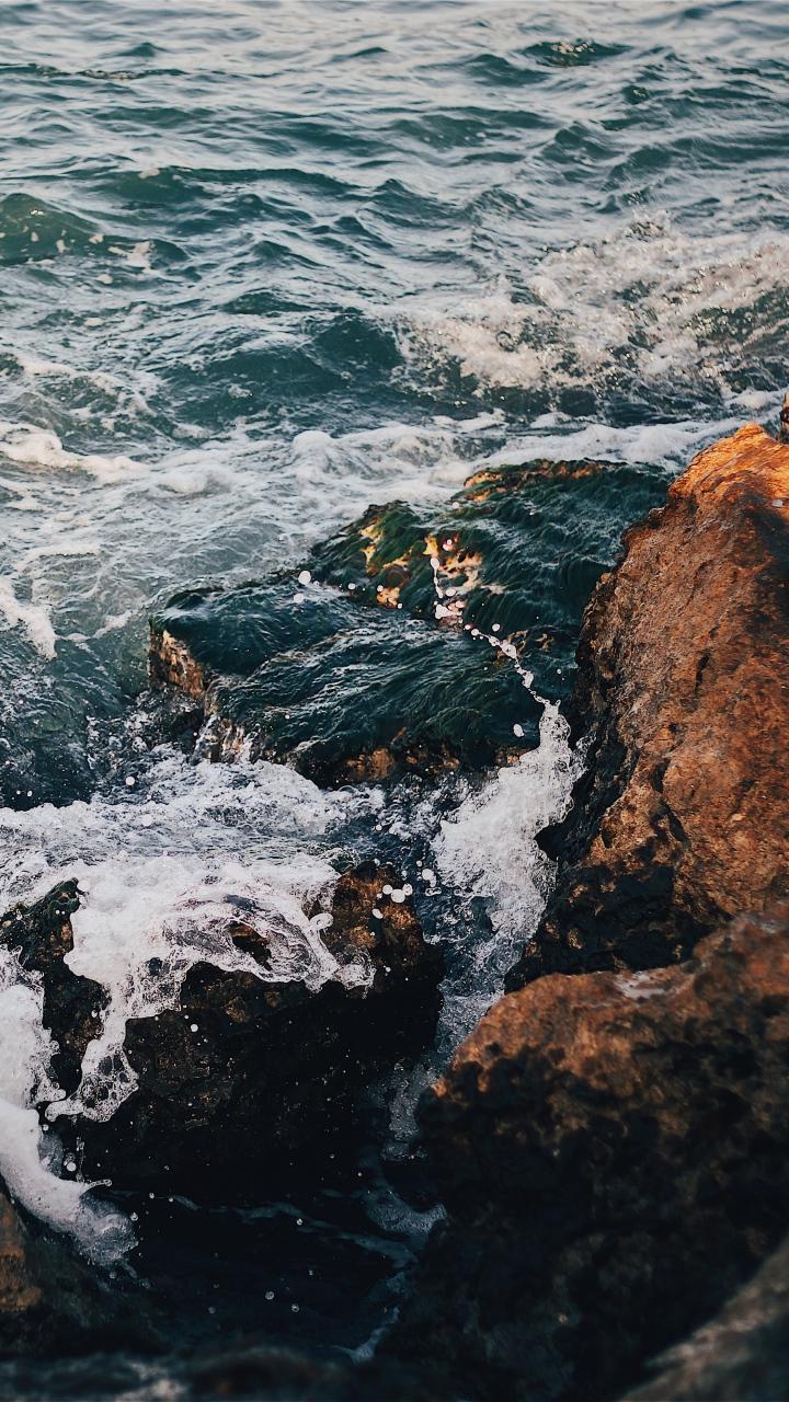 Rocks Sea Surf Wallpaper 720x1280