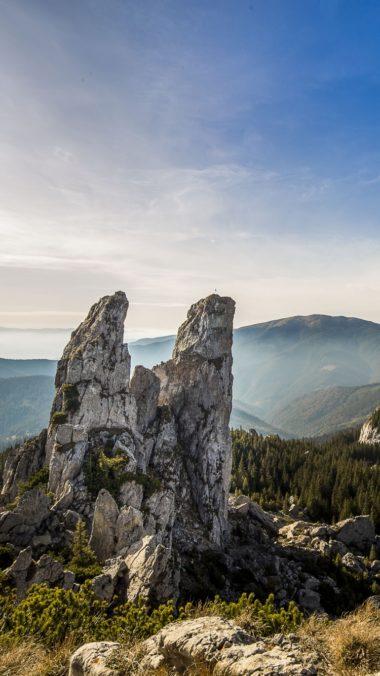 Romania Mountains Rocks Sky Trees 380x676
