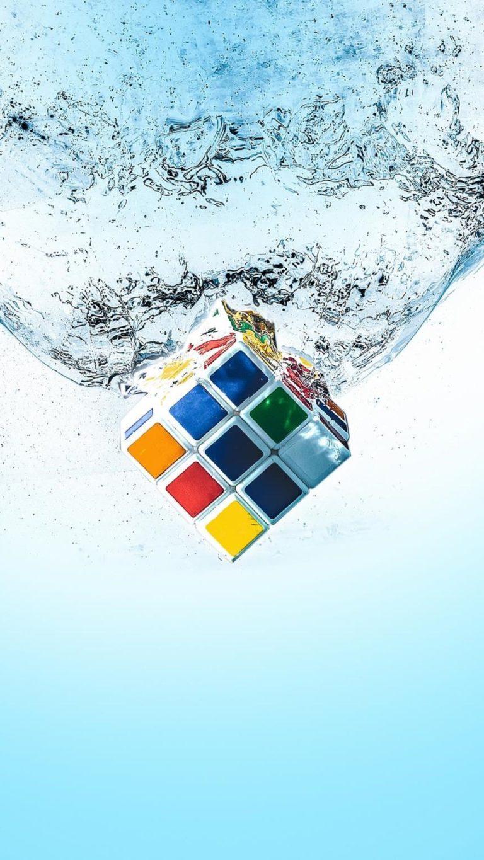 Rubiks Cube Splash Qu Wallpaper 1080x1920 768x1365