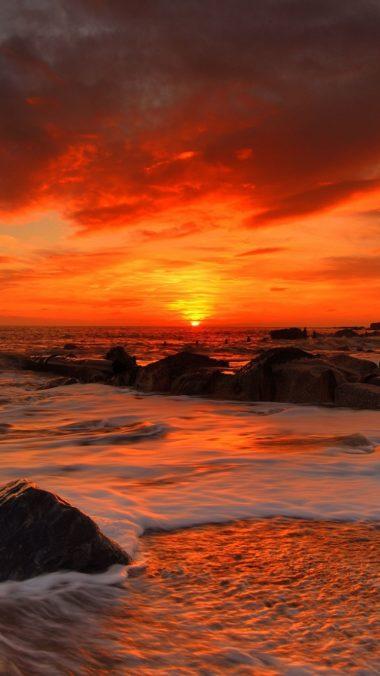 Sea Waves Rocks Beach Sunrise 380x676