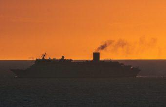 Ship Swimming Sunset Horizon Wallpaper 2160x3840 340x220