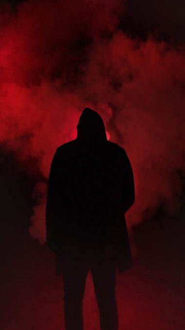 Silhouette Smoke Man Hood Wallpaper 2160x3840 380x676