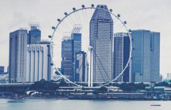 Singapore Skyscrapers Beach Ferris Wheel Wallpaper 2160x3840 340x220