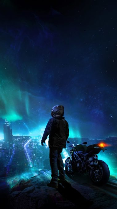 Skylines Biker Blue City Photomanipulation Do Wallpaper 1080x1920 380x676