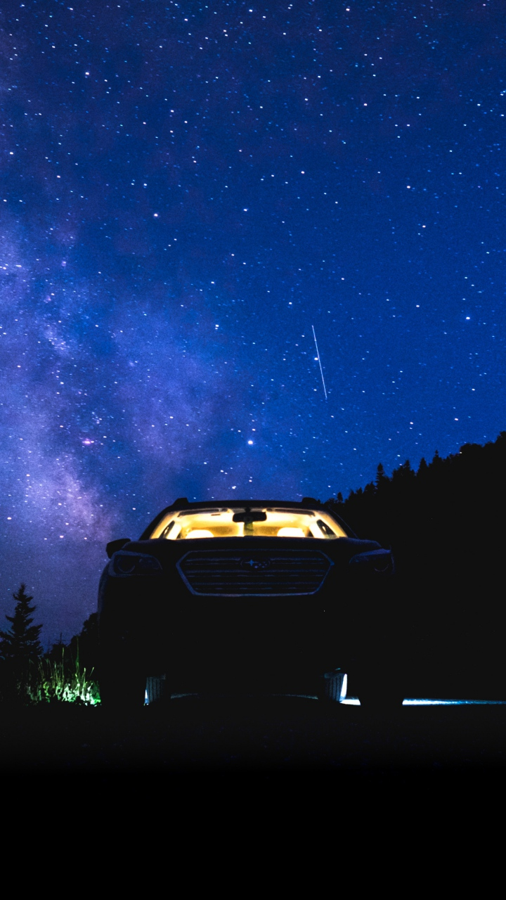 Starry Sky Night Car Wallpaper 720x1280