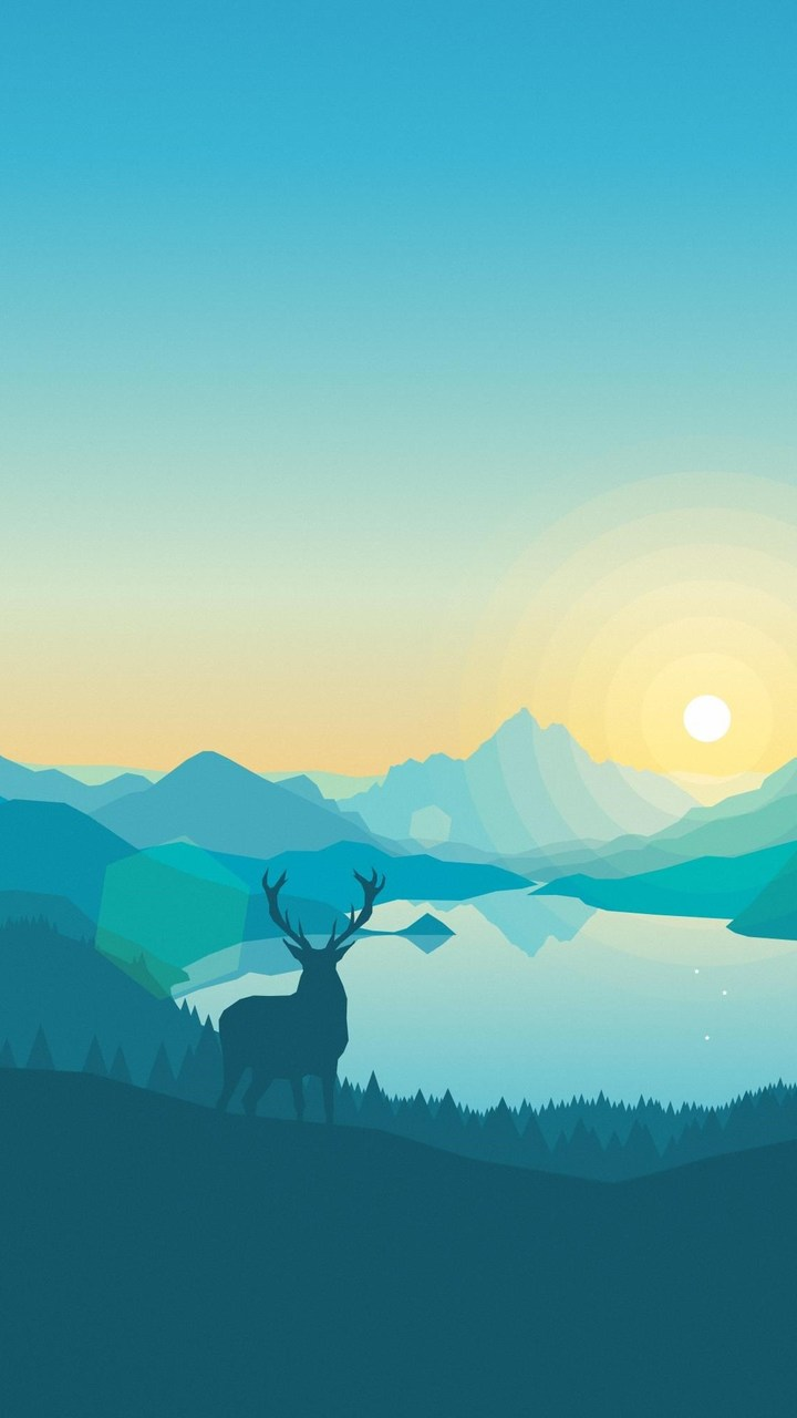 sunrise lake art work wallpaper- [720x1280]