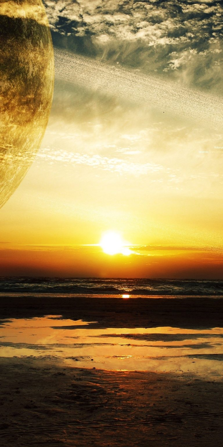 Sunset Sea Rings Ultra HD Wallpaper 1080x2160 768x1536