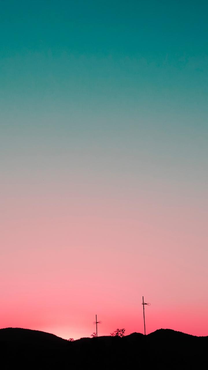 Sunset Sky Hills Wallpaper 720x1280