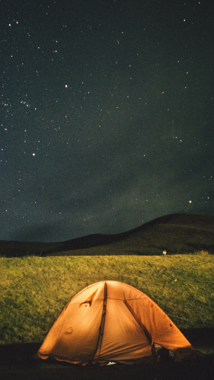 Tent Starry Sky Night Wallpaper 720x1280