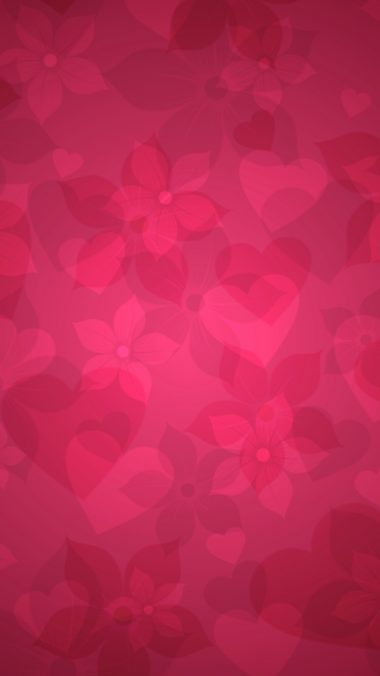 Texture Pink Heart Hearts Flowers 380x676