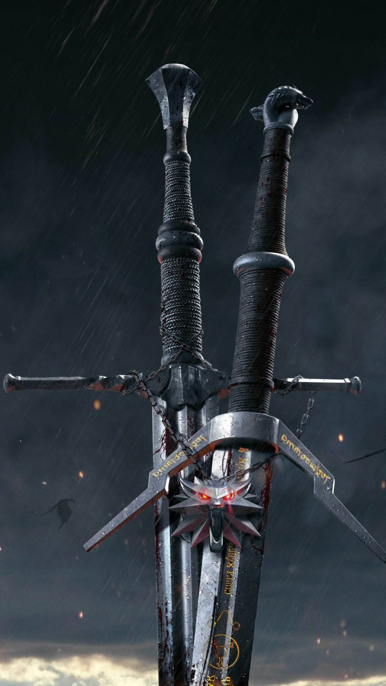 The Witcher 3 Wild Hunt Sword 10k Qg Wallpaper 2160x3840 768x1365