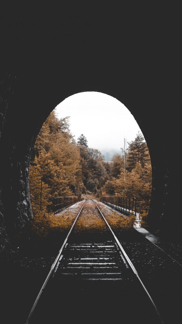 Tunnel Railway Autumn Wallpaper 720x1280