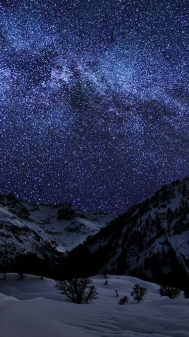 Winter Sky Stars Nature Night 380x676
