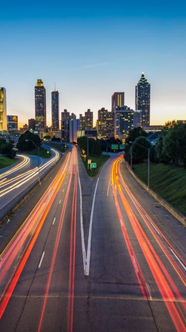 Atlanta Usa Road Skyscrapers Wallpaper 1440x2560 380x676
