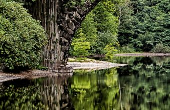 Bridge Arch Trees River Reflection Wallpaper 1440x2560 340x220