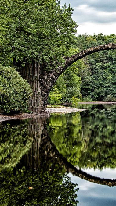Bridge Arch Trees River Reflection Wallpaper 1440x2560 380x676