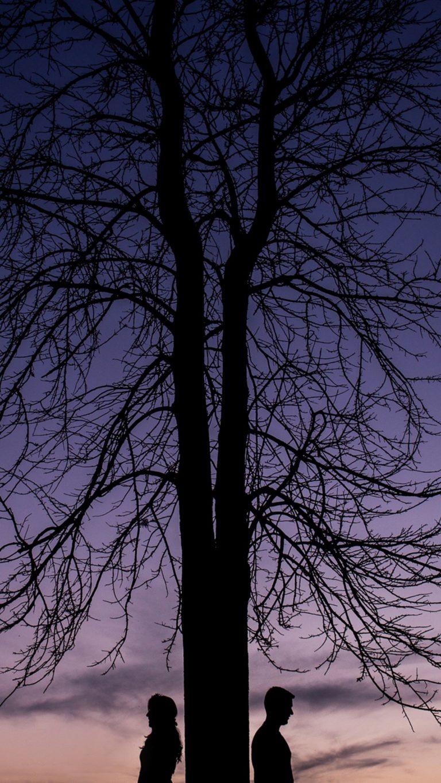 Couple Silhouettes Tree Wallpaper 1440x2560 768x1365
