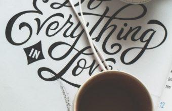 Cup Coffee Headphones Inscription Wallpaper 1440x2560 340x220