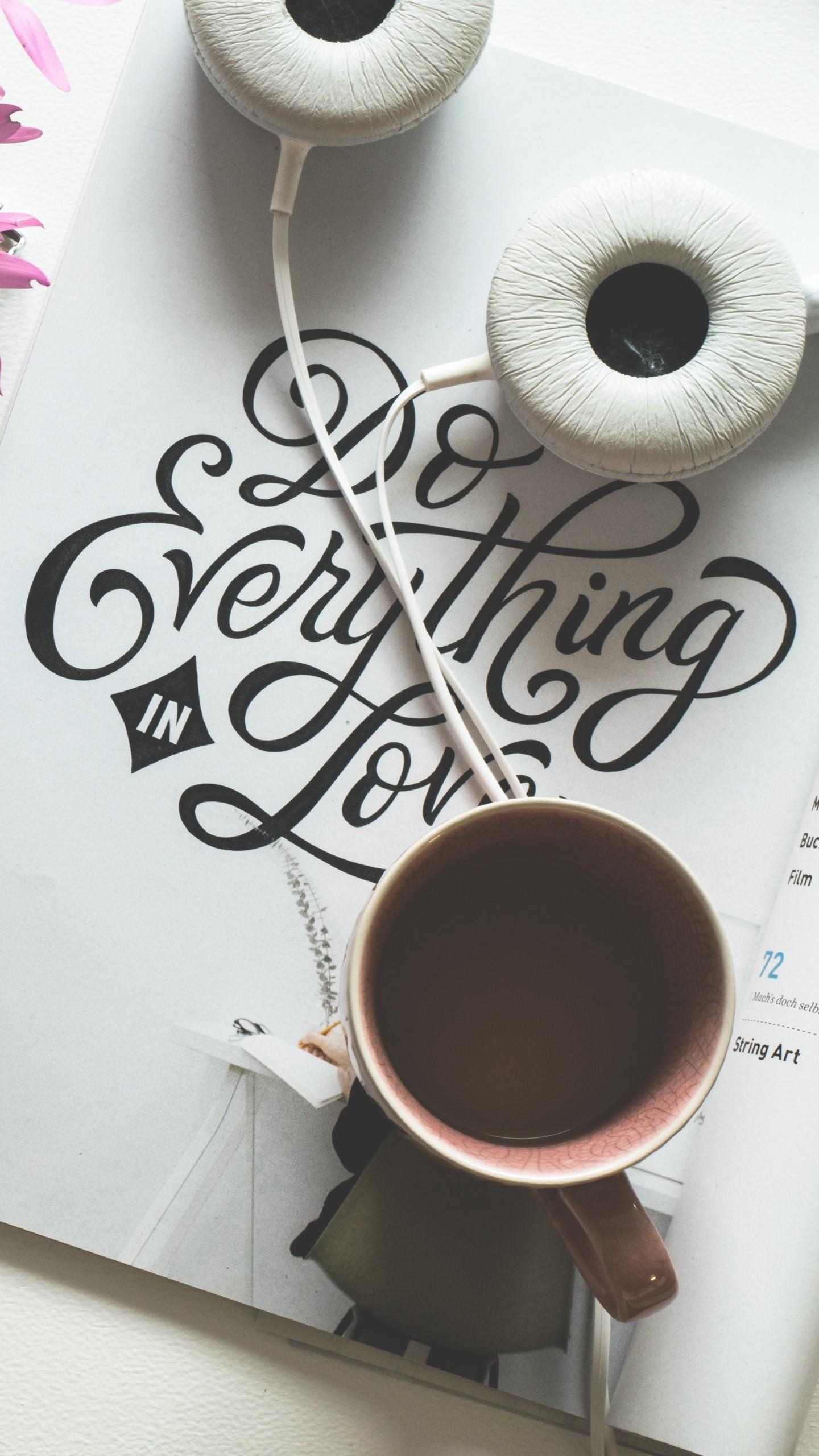 Cup Coffee Headphones Inscription Wallpaper