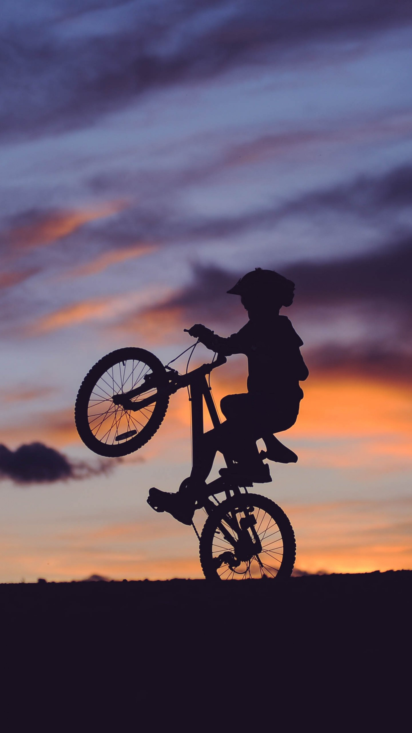 Cyclist Silhouette Sunset Wallpaper - [1440x2560]