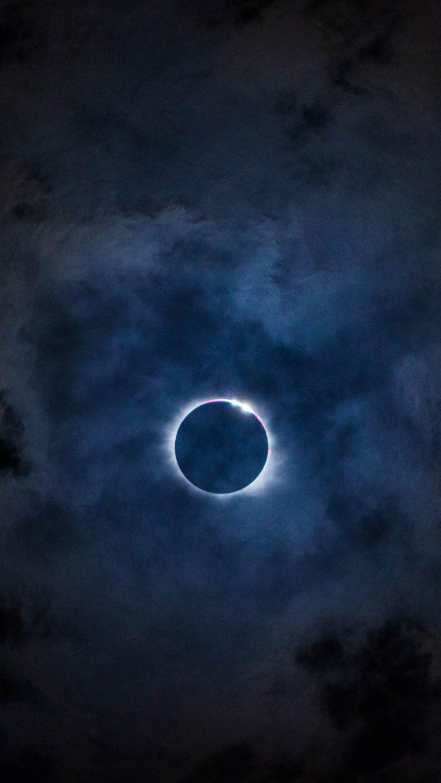 Eclipse Sky Moon Clouds Wallpaper 1440x2560 768x1365