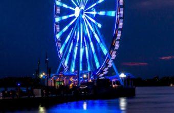 Ferris Wheel Night Shore Wallpaper 1440x2560 340x220