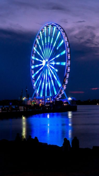 Ferris Wheel Night Shore Wallpaper 1440x2560 380x676