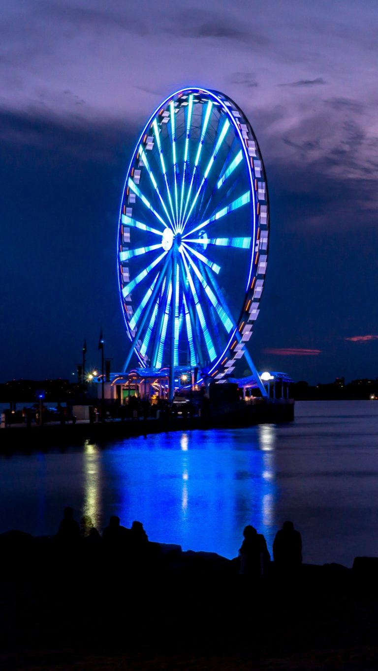 Ferris Wheel Night Shore Wallpaper 1440x2560 768x1365