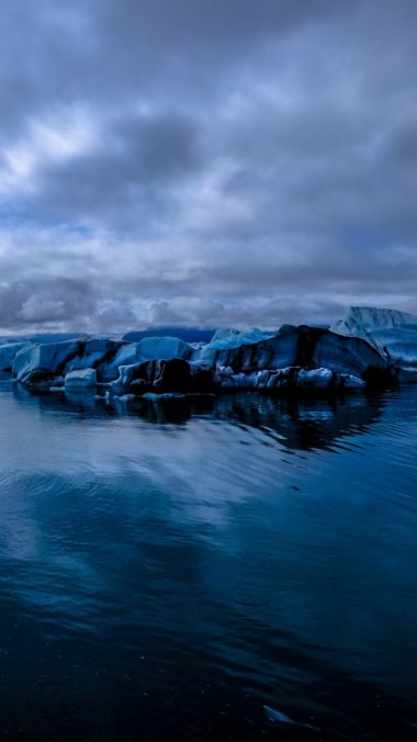 Glacier Sea Snow Ice Evening Wallpaper 1440x2560 380x676