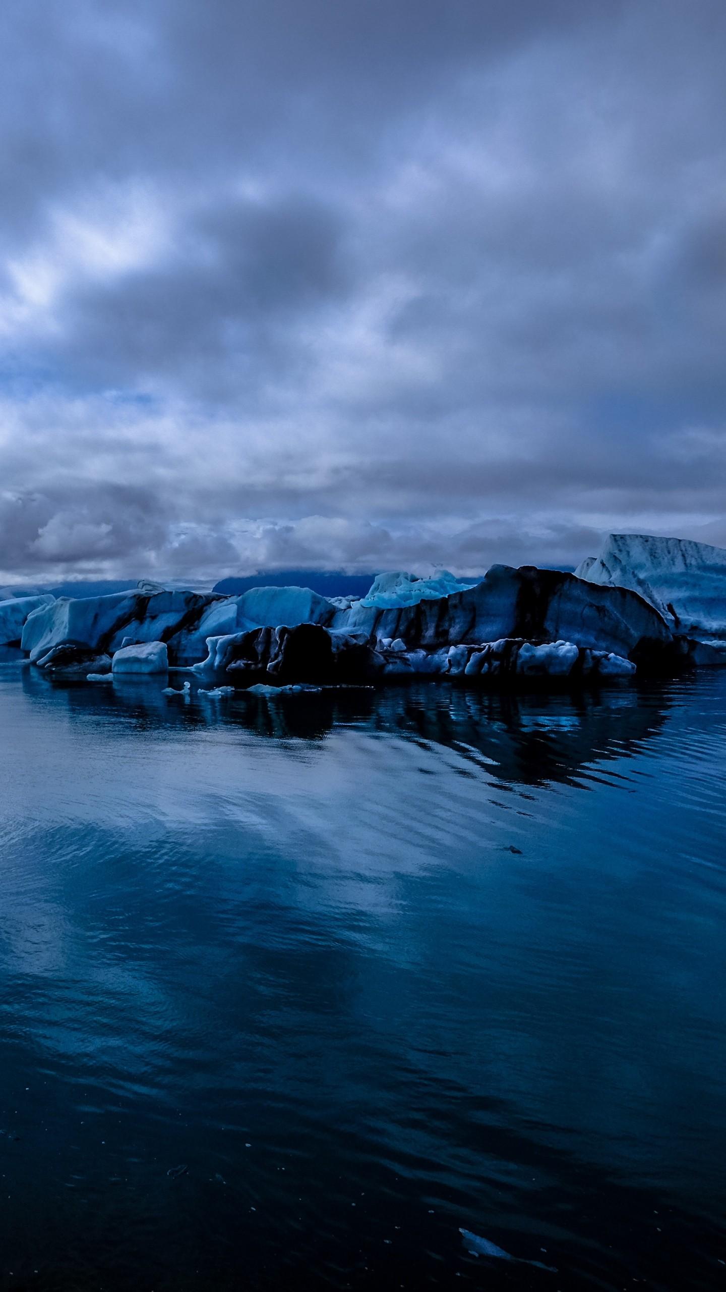 Glacier Sea Snow Ice Evening Wallpaper
