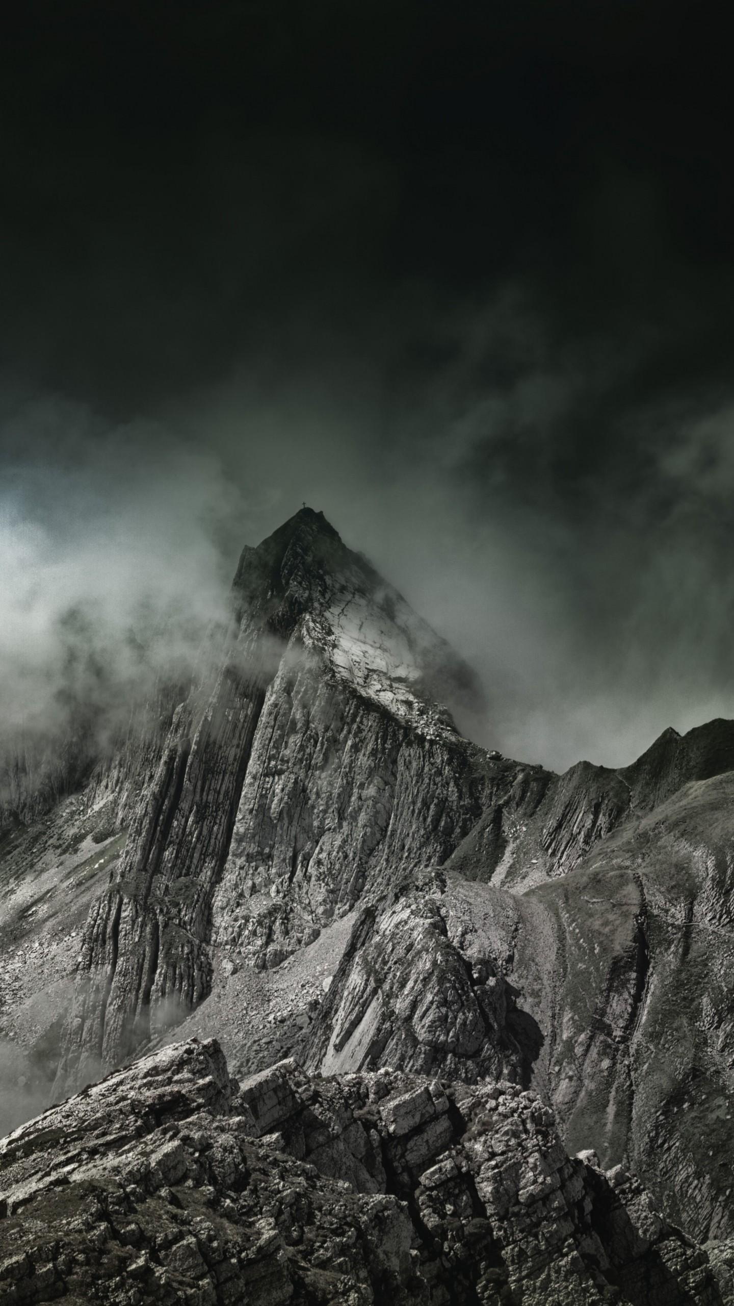 mountains fog summit wallpaper