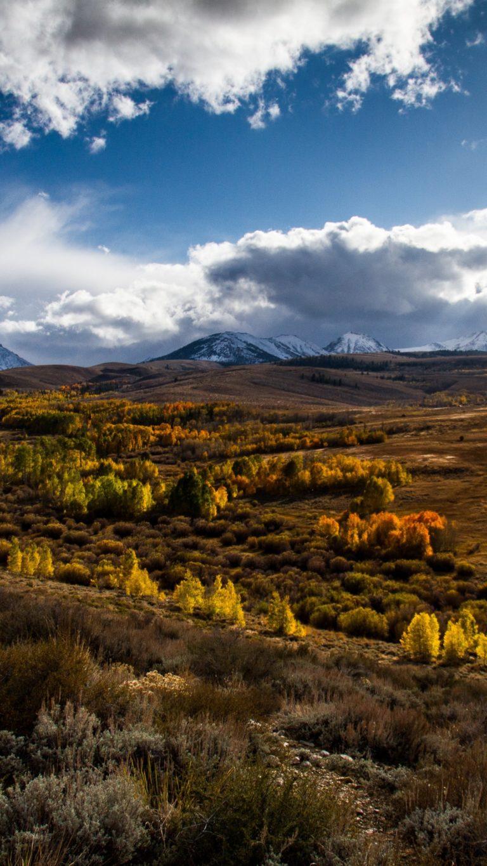 Mountains Grass Clouds Wallpaper 1440x2560 768x1365