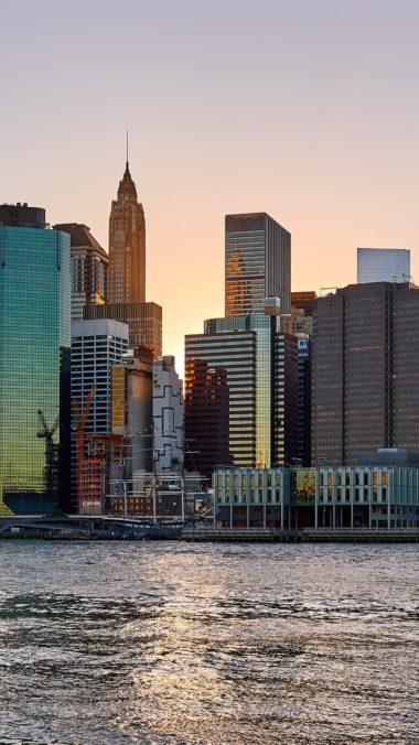 New York Usa Skyscrapers Beach Wallpaper 1440x2560 380x676
