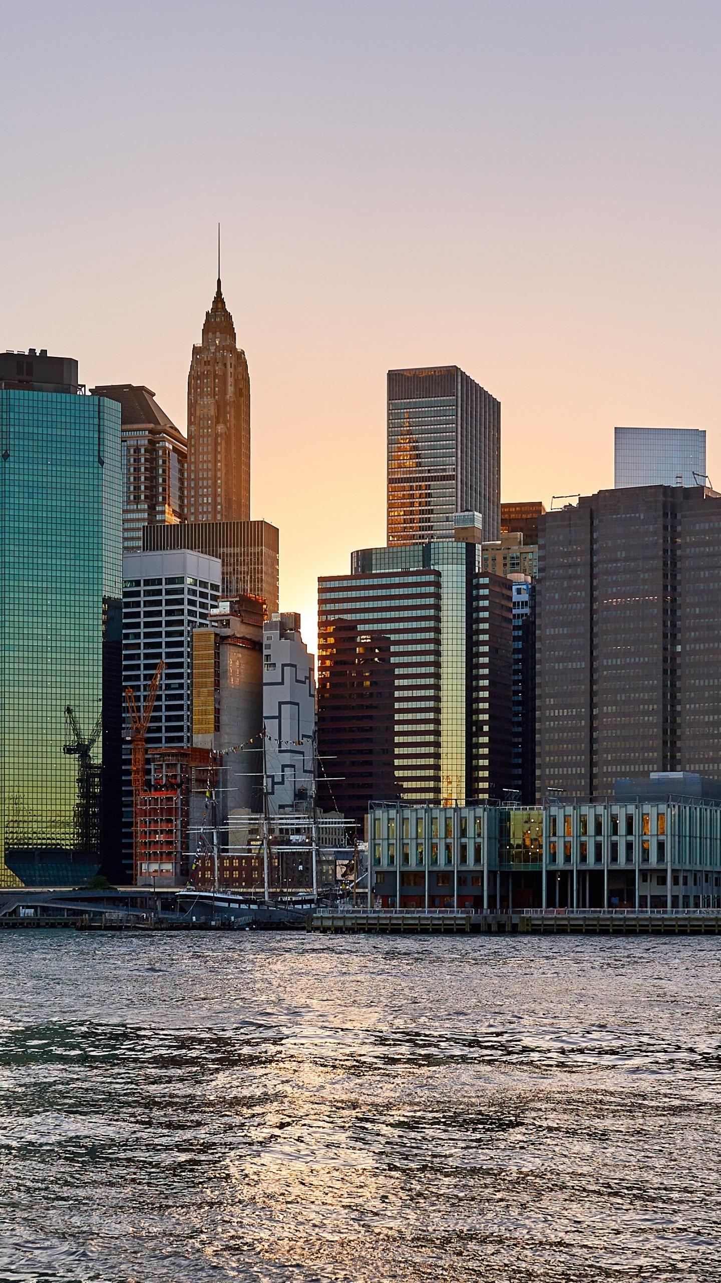 New York Usa Skyscrapers Beach Wallpaper