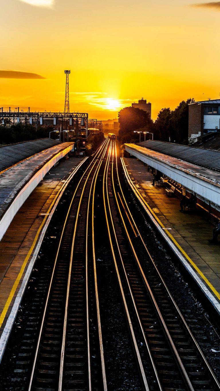 Railroad Train Sunset Wallpaper 1440x2560 768x1365