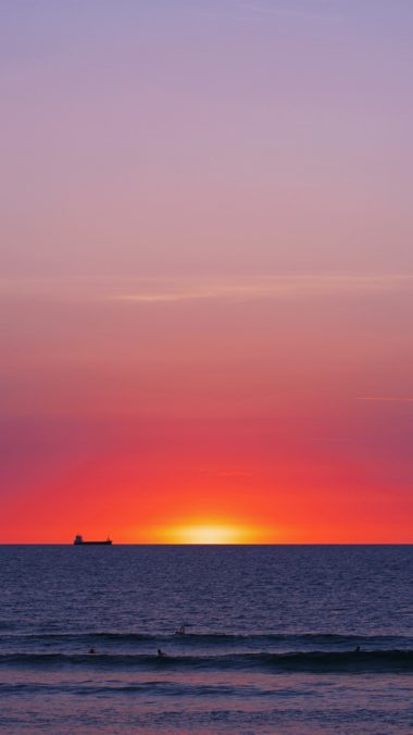 Sea Sunset Horizon Wallpaper 1440x2560 380x676