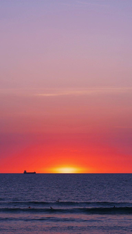 Sea Sunset Horizon Wallpaper 1440x2560 768x1365
