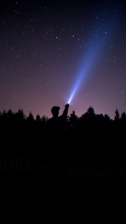 Starry Sky Stars Night Man Light Wallpaper 1440x2560 768x1365