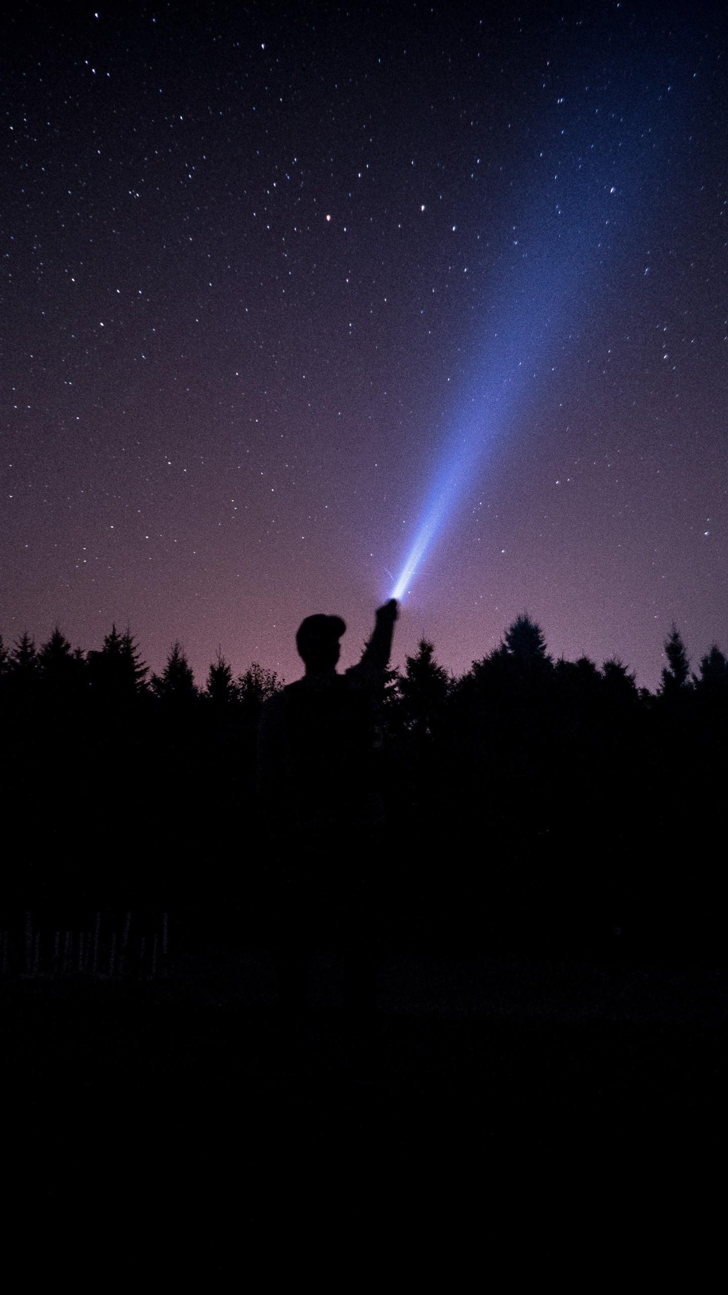 Starry Sky Stars Night Man Light Wallpaper 1440x2560