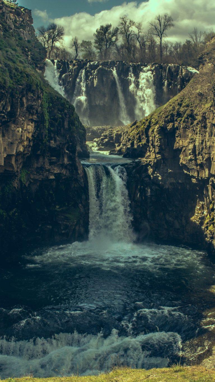 Waterfall Precipice Stones Shadow Wallpaper 1440x2560 768x1365
